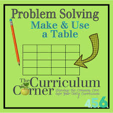 problem solving strategy making u0026 using a table the curriculum