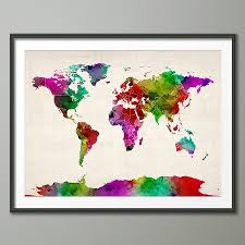 Watercolor Map Of The World by World Map Watercolour Art Print By Artpause Notonthehighstreet Com