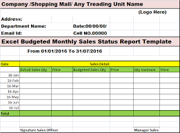 Daily Sales Report Template Excel Free Excel Budgeted Monthly Sales Status Report Template Free Report