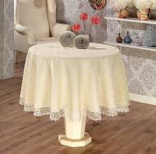 160 cm 63 luxury tablecloth in with lace finish