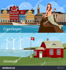 Sea Flag Meanings Denmark Flat Style Compositions Buildings National Stock Vector