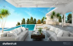 modern beach house modern beach house private swimming pool stock illustration