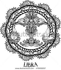 detailed libra aztec filigree art stock vector 464977835