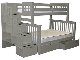 bunk beds twin over full stairway gray 2 drawers 965