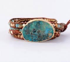 turquoise stone bracelet images Leather tribal boho turquoise stone bracelet ornately jpg