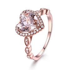pink morganite 8mm heart shaped cut pink morganite 14k gold diamond halo