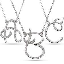 white necklace images Personalized diamond cursive initial pendant necklace 14k white gold jpg