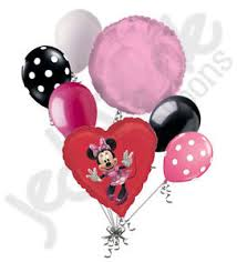 heart balloon bouquet 7 pc minnie mouse heart balloon bouquet party decoration