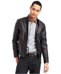 mens leather moto jacket kenneth cole reaction faux leather moto jacket in black for men lyst