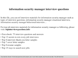 Information Security Manager Resume Information Security Manager Interview Questions