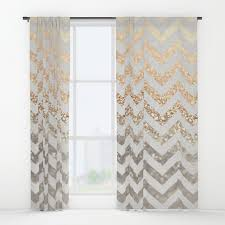 Silver Window Curtains Gold Silver Chevron Window Curtains By Monikastrigel Society6