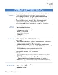 Sample Admin Resume by System Administrator Resume Sample Resume For Your Job Application