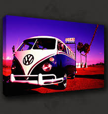 volkswagen camper pink vw canvas print picture wall art