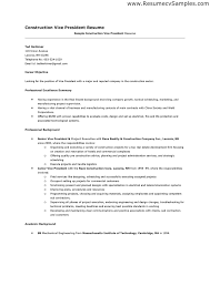 Construction Worker Resume Examples by Construction Sample Resume Construction Superintendent Resume