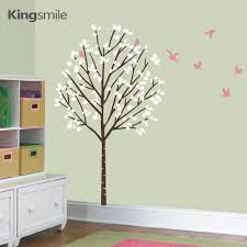 aliexpress com buy tree branches forest pink birds wall stickers aliexpress com buy tree branches forest pink birds wall stickers vinyl art decals girl nursery sticker kids baby rooms decoration size 100 x 173 cm from