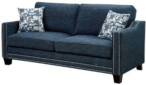 kerian blue chenille sofa from furniture of america coleman