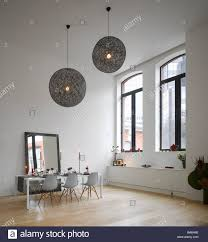 Dining Ceiling Lights Dining Area With Oversized Ceiling Lights In Apartment Of