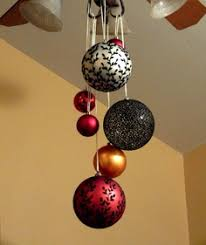 ornaments hanging from ceiling in gold and green
