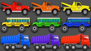 monster truck video for kids mixing colors street vehicles construction equipment u0026 monster