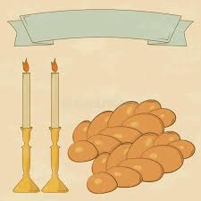shabbot candles shabbat candles kiddush cup and challah stock vector