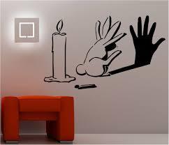 rabbit shadow graffiti wall art sticker lounge bedroom kitchen