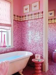pink room design bathroom with mosaic tiles and wall hanging