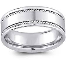 cheap white gold mens wedding bands 14k white gold men s rope detail comfort fit wedding band 8 mm