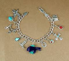 charm bracelet chain silver images Charm bracelet navajo and zuni charms sterling silver curb chain jpg