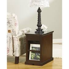 power chairside end table signature design by ashley laflorn dark brown power chair side end
