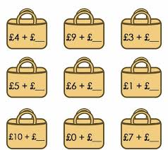 number bonds to 10 and addition worksheet for ks1 with bags theme