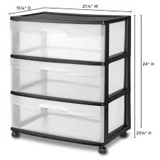 sterilite wide 3 drawer cart black walmart com
