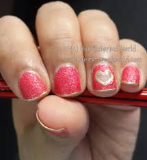 out heart nail art using maybelline glitter mania red carpet