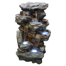Alpine FiveLevel Rock Pond Waterfall IndoorOutdoor Fountain - Pond lights home depot