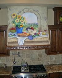 kitchen design range hood painted sunflower decorations for