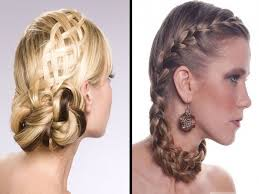 braided updo for long blond wavy hair