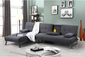 Modern Chaise Lounge Sofa by Fabric Upholstered Fold Down Chaise Longue Sofa Bed Green Grey