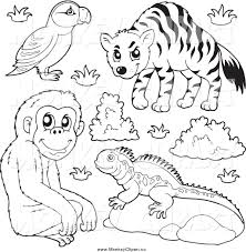 free zoo animal clipart black and white collection