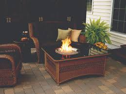 Fire Pit Crystals by Naples Collection Wicker Fire Pit Table With Glass Crystals And