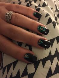 love these aztec nails black mint and gold are the so in