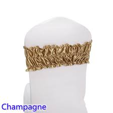 Champagne Chair Sashes Aliexpress Com Buy Champagne Sash Wedding Chair Sash Pleated