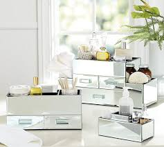mirrored bathroom accessories mirrored makeup storage pottery barn