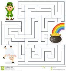 leprechaun sheep pot gold maze for kids stock vector image