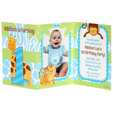 Tri Fold Invitations Safari 1st Birthday Boy Personalized Tri Fold Invitation