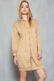 camel front lace up casual sweater dress