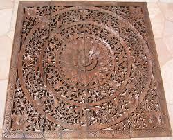 carved four teak panel
