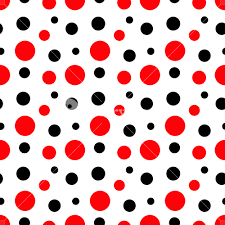 mickey mouse pattern of white polka dots on a red background