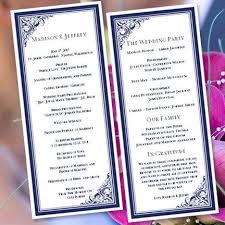 tea length wedding program template wedding program template tea length navy blue 2340264