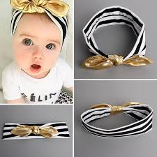 baby girl headband black white striped baby girl headband w gold bow the milk c