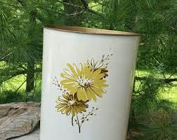 Yellow Wastebasket Vintage Waste Basket Etsy