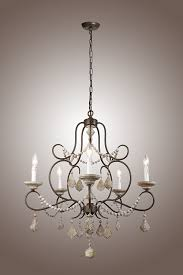 Country Light Fixtures 5 Lights Iron Frame Wood Beads Chandelier French Chateau Country